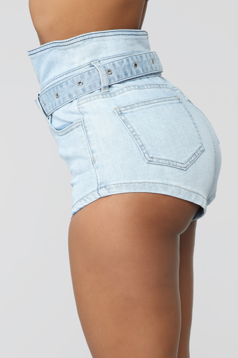 Around Your Waist Denim Shorts - Light Blue Wash