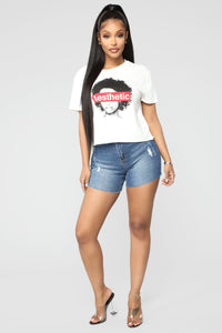 Say So Denim Shorts - Dark Denim