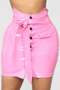 Feel Me Latex Skirt - Bubble Gum