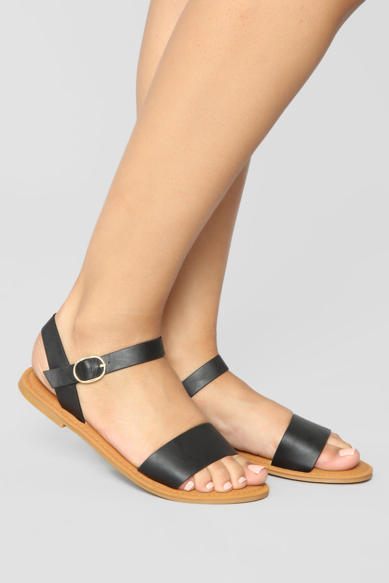 All About Me Flat Sandals - Black