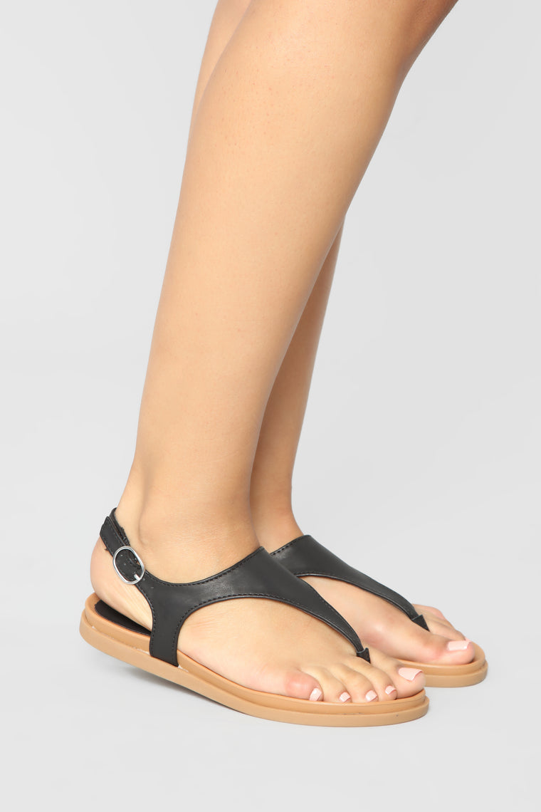 Chasing The Sun Flat Sandals - Black