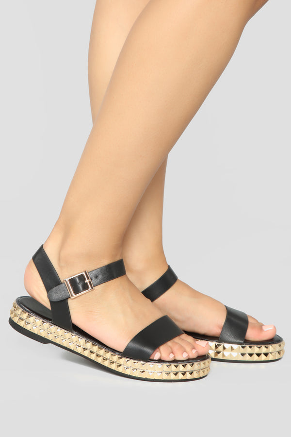 b77f383e0e43 It s Been Awhile Flat Sandals - Black