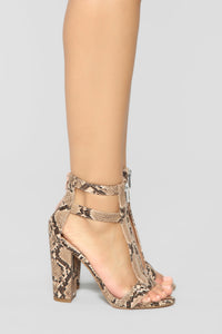 You Heard What Heeled Sandals - Snake