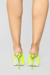 No Limits Heeled Sandals - Neon Yellow