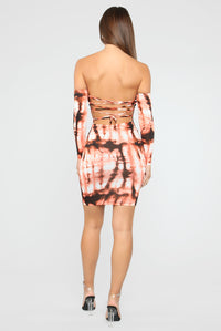 My Crazy Life Tie Dye Mini Dress - Coral/Combo