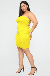 Back To Laces Tube Mini Dress - Yellow