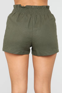 Girl In The Mirror High Rise Button Shorts - Olive