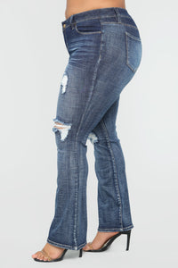 Caitlin II Distressed Flare Jeans - Dark Denim Angle 3