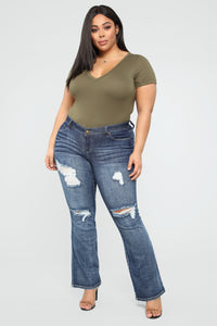 Caitlin II Distressed Flare Jeans - Dark Denim Angle 1