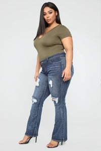 Caitlin II Distressed Flare Jeans - Dark Denim Angle 4