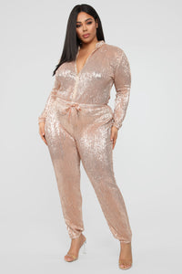 Is This Star Taken Sequin Jumpsuit - Rose Gold Angle 7