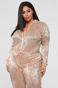 Is This Star Taken Sequin Jumpsuit - Rose Gold Angle 8