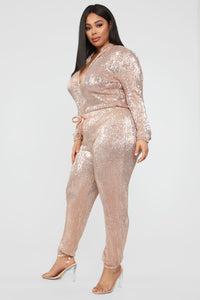 Is This Star Taken Sequin Jumpsuit - Rose Gold Angle 9