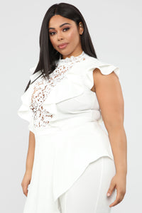 Issa Queen Asymmetrical Jumpsuit - White Angle 8