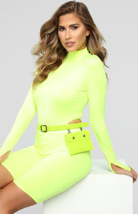 Blurred Lines Belt Bag - Lime Angle 2