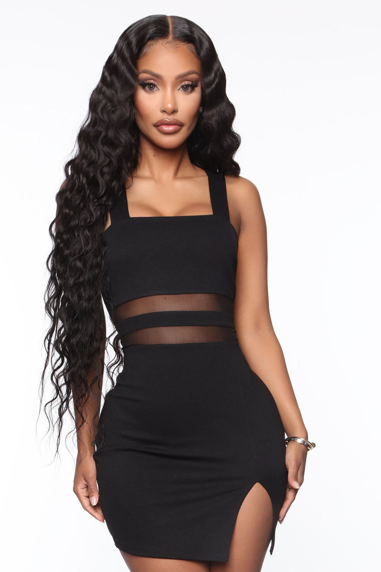Let's Mingle Bodycon Mini Dress - Black