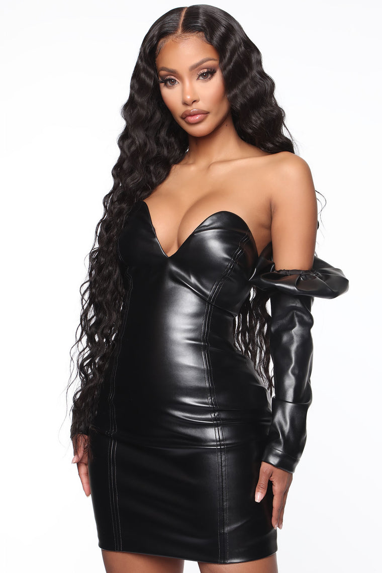 The Elite PU Leather Mini Dress - Black