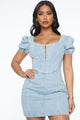 A Dime In Denim Mini Dress - Light Blue Wash