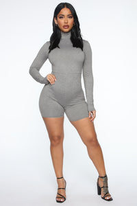 Down The Blvd Romper - Heather Grey Angle 2