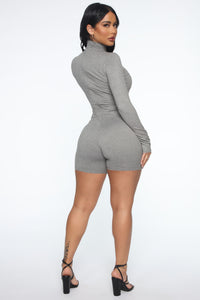 Down The Blvd Romper - Heather Grey Angle 3