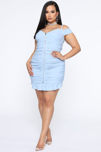 Let Me Surprise You Ruched Mini Dress - Blue Angle 4