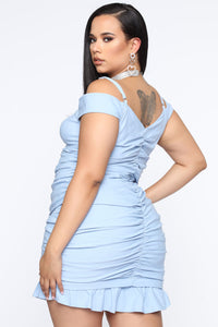 Let Me Surprise You Ruched Mini Dress - Blue Angle 6