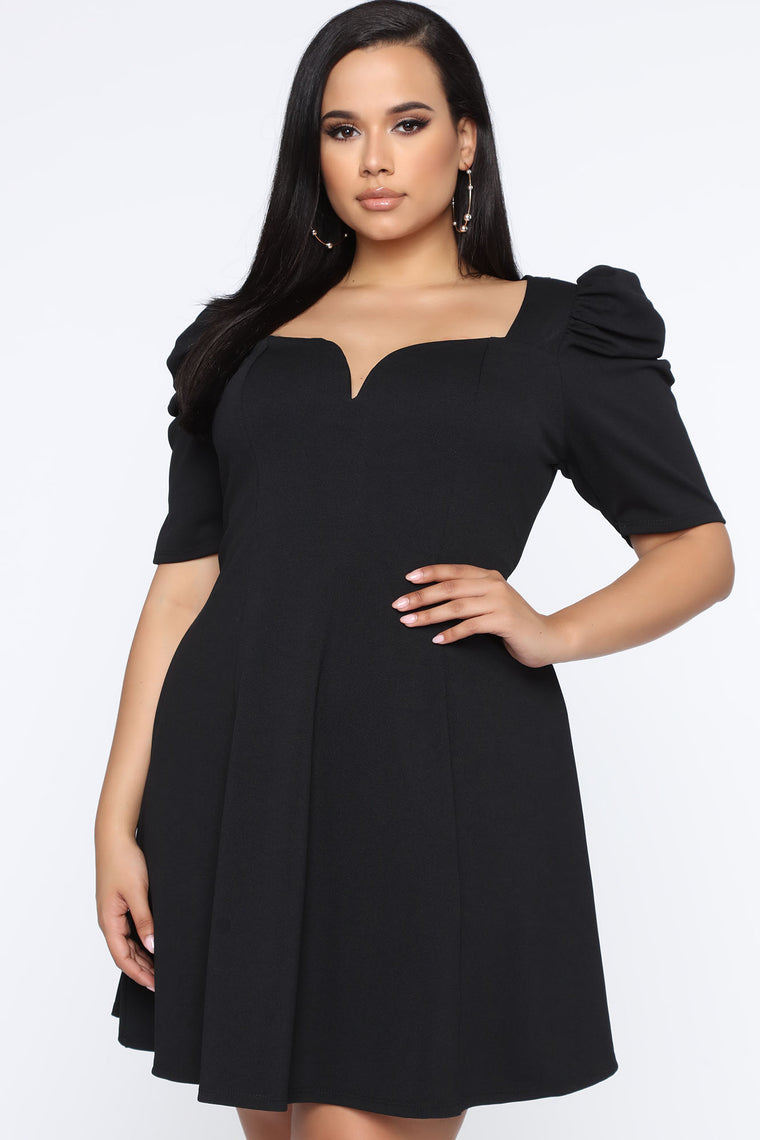 Always About Me Puff Sleeve Mini Dress - Black