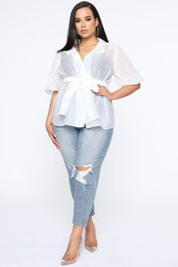 Ready Sheer Organza Wrap Top - White Angle 2