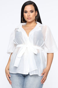Ready Sheer Organza Wrap Top - White Angle 1