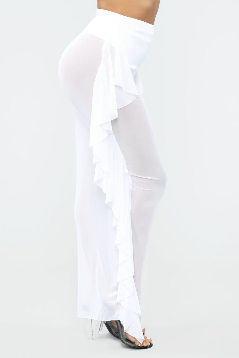 Watch Me Walk Away Mesh Cover Up Skirt - White