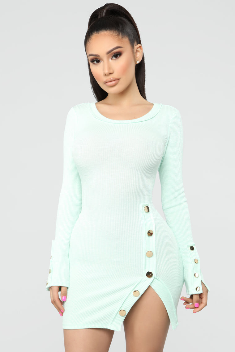 Cute As A Button Mini Dress - Mint