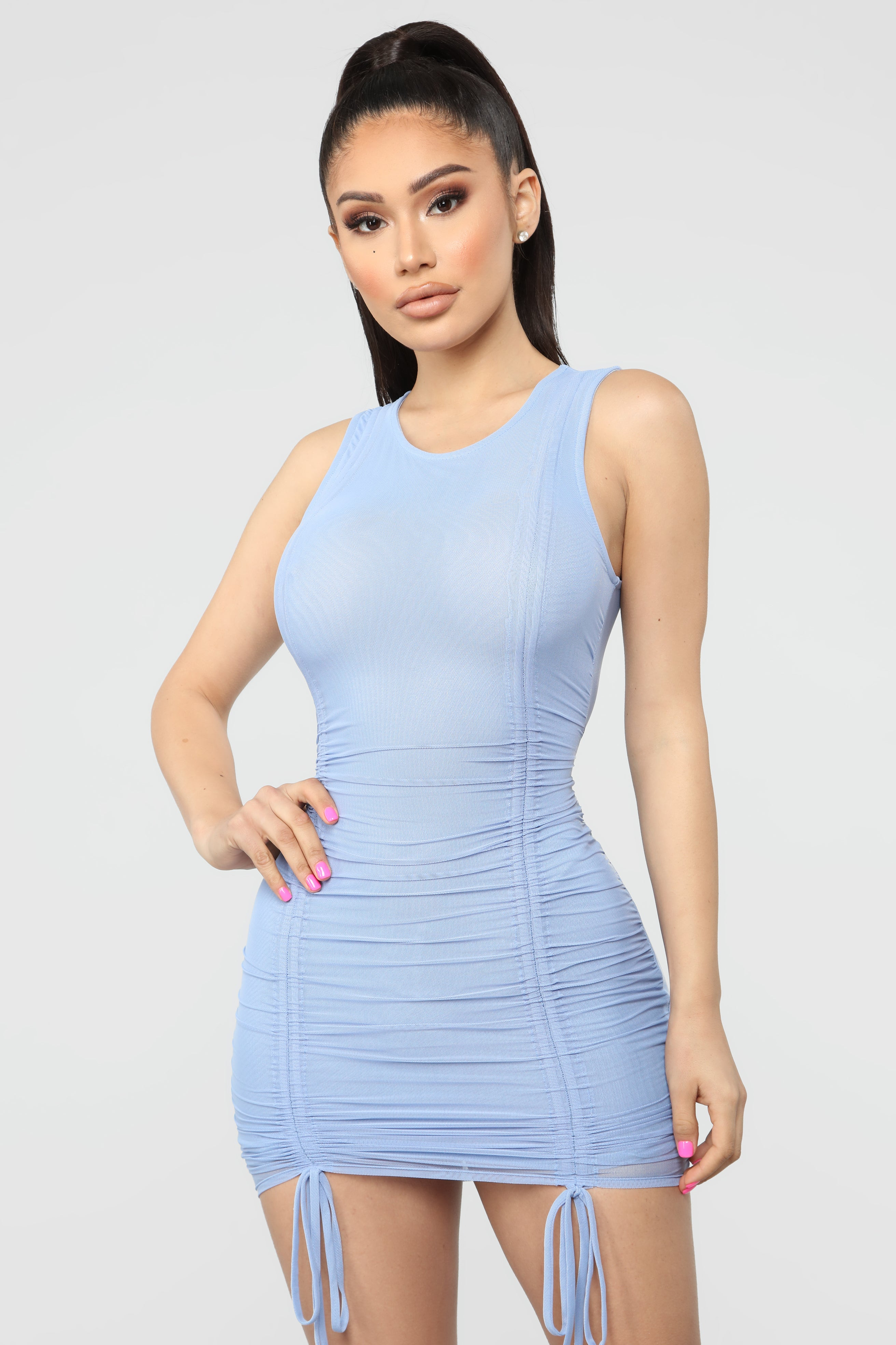 Blue Dress with Mesh