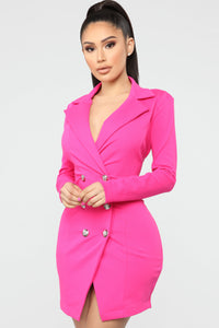 Bossing Around Mini Blazer Dress - Hot Pink