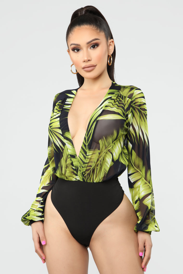 Tropical Mesh Bodysuit - Green