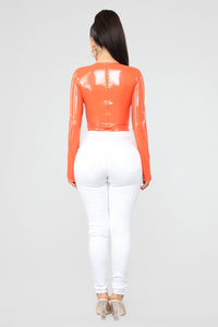 Jodie Latex Bodysuit - Orange