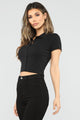 Right On Time Collared Top - Black