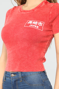 Japan Ribbed Top - Red