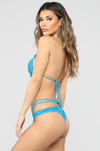 Here For One Thing Lace 2 Piece Set - Blue