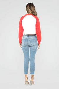 Rookie Move Raglan Top - Red