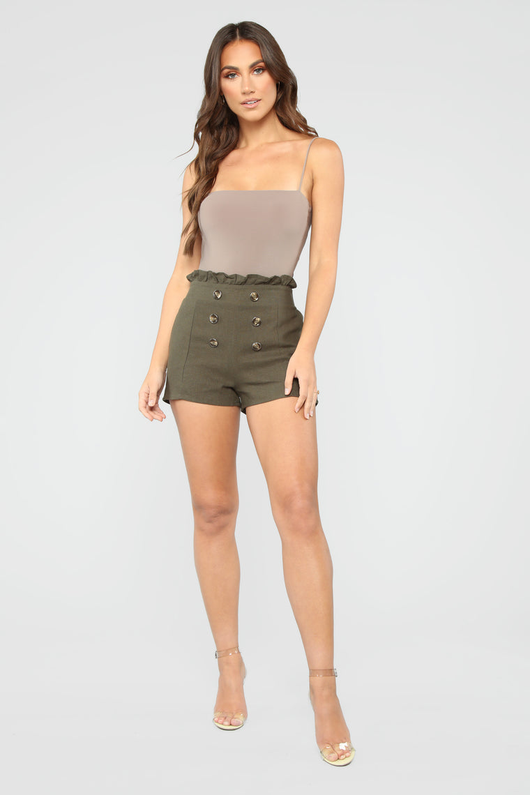 The Good Life High Rise Button Shorts - Olive