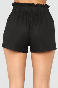 The Good Life High Rise Button Shorts - Black
