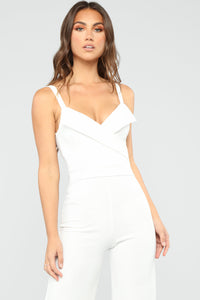 Thinking Of You Jumpsuit - White Angle 2