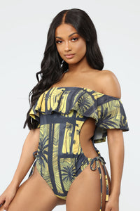 Dip Out Swimsuit - Black/Yellow