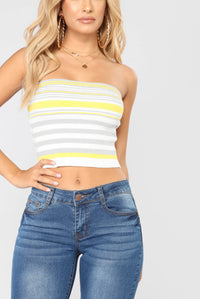 Kaylin Tube Top - Yellow/Grey