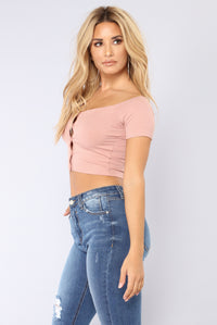 Give My Love Button Top - Mauve