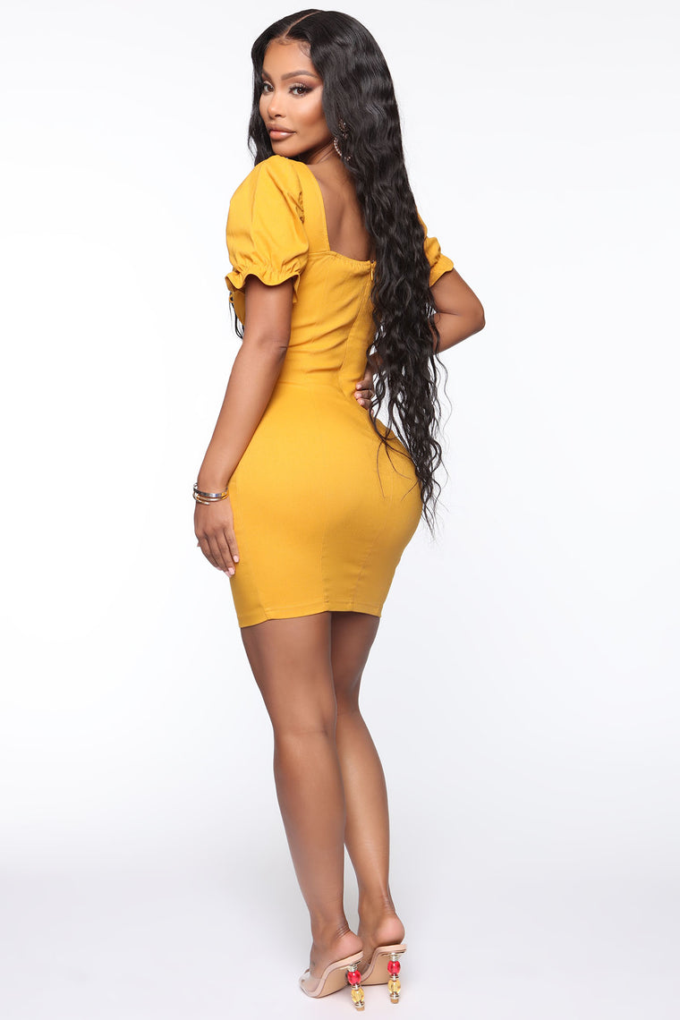 Bend And Snap Mini Dress - Mustard