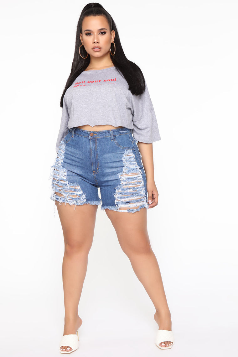 Yes Now Distressed Bermuda Shorts - Medium Blue Wash
