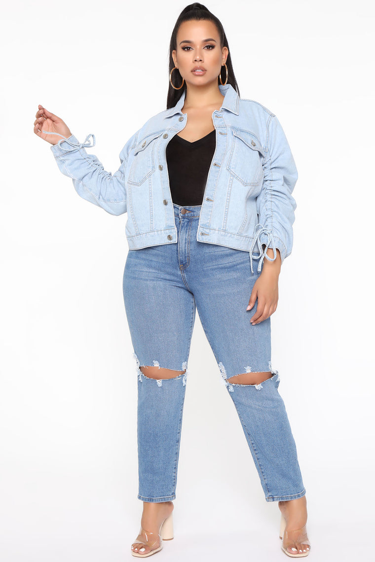 What's The Ruche Denim Jacket - Light Blue Wash