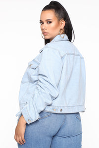 What's The Ruche Denim Jacket - Light Blue Wash Angle 5