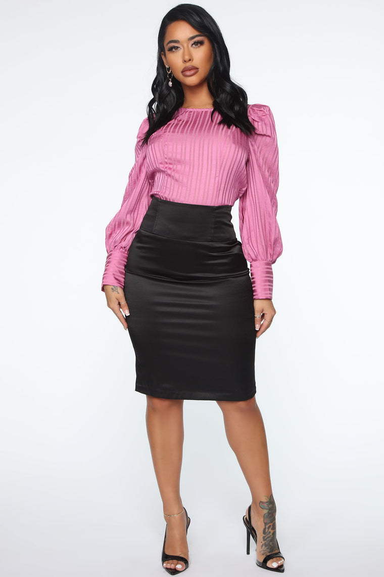 Working The Room Puff Sleeve Top - Pink